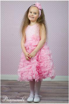 ROSA - Festliches Kleid der Oberklasse! Mit Perlen! Gr.104 - Princessmoda - Alles für Taufe Kommunion und festliche Anlässe