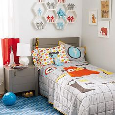 Super Hero Bedding in New Kids Bedding | The Land of Nod  Great colors | hex shelves | hex lamp