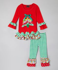 Love this Red Holiday Tree Ruffle Top & Pants - Toddler & Girls on #zulily! #zulilyfinds