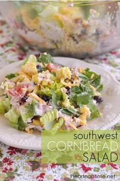 Southwest Cornbread Salad from Your Homebased Mom - sounds delicious! http://www.yourhomebasedmom.com/southwest-cornbread-salad-2/