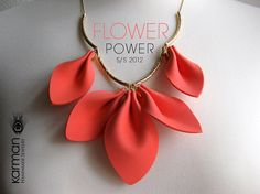 Flower Power. Magnificent lovely necklace on gold chain. Beautiful necklace design for Spring and Summer 2012 by Karman Jewelry.