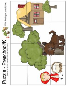 Fairy Tale Activities, Learning Activities, Activities For Kids, Body Preschool, Kindergarten, Maze Game, Early Literacy, Paper Toys, Red Riding Hood