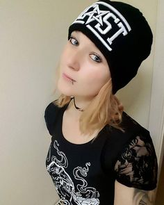 "#shoutout to @bexluther_altmodel in our ""BEAST"" Beanie & CRMC X @miri_arake ""Ravens Heart"" Lacey Back Tee both available at www.crmc-clothing.co.uk 