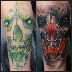 Freehand skull by Mr Dist @ Big Slick Tattoo, Örebro Sweden.