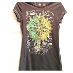 ✨JimmyZ brand cotton t-shirt Gray JimmyZ brand cotton t-shirt.  Metallic silver thread stitching.  Cross on front is embellished with pink gemstones.  Excellent condition! JimmyZ Tops Tees - Short Sleeve