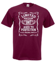 This item is unavailable Moms 50th Birthday, Birthday Ideas, Statement Shirts, Birth Year, Aged To Perfection, Family Gifts, Shirt Ideas, Printed Shirts, Shirt Designs