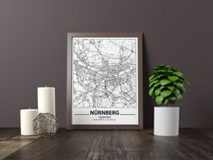 Excited to share the latest addition to my #etsy shop: Nürnberg map print, Minimalistic wall art poster, Germany gifts, Birthday Gift, For father, Father Black And White Wall Art, Black And White City, Black And White Posters, Map Wall Art, Art Mural, Map Art, Artwork Prints, Poster Prints, Art Posters