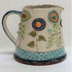 Space Daisy's milk jug. This is my favourite piece of this order . Al… - All About Decoration Hand Built Pottery, Slab Pottery, Pottery Mugs, Ceramic Pottery, Pottery Art, Ceramic Pitcher, Ceramic Cups, Ceramic Art, Pottery Painting