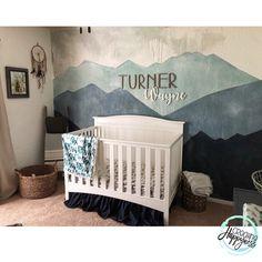 Thanks for the mountain nursery inspo, ⛰ Baby Bedroom, Baby Boy Rooms, Baby Boy Nurseries, Baby Room Decor, Nursery Room, Kids Bedroom, Name In Nursery, Neutral Nurseries, Elephant Nursery