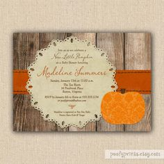 Little Pumpkin Baby Shower Invitations - DIY Printable Rustic Autumn Shower Invitations on Etsy, $24.00