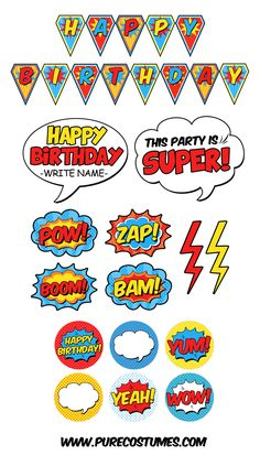 Free Superhero Pary Printables - Batman Party - Ideas of Batman Party - Have a spectacular superhero party with these free superhero party printables! Just print cut and decorate for a budget-friendly celebration. Superman Birthday Party, Avengers Birthday, Batman Party, Boy Birthday, Super Hero Birthday, Superhero Party Favors, Superman Party Decorations, Birthday Celebration, Happy Birthday Superhero