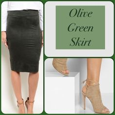 Olive Green Skirt This skirt features a suede material and bodycon silhouette. 92% Polyester, 8% Spandex. Great winter color! (This closet does not trade or use PayPal) Skirts Pencil