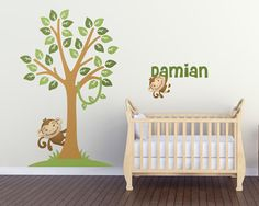 Monkey Pair Nursery Wall Decals Set with 1 by LullaberryDecals Custom Vinyl Wall Decals, Removable Wall Decals, Kids Room Wall Decals, Nursery Wall Decals, Nursery Design, Room Inspiration, Monkey, Animal, Wall Stickers For Nursery
