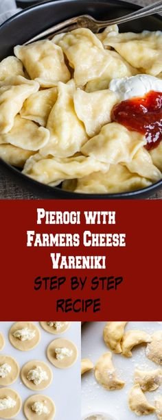 Homemade vareniki, pierogi with farmers cheese, a simple step by step recipe, you can prep and freeze them. Farmers Cheese Pierogi Recipe, Cheese Recipes, Pie Recipes, Potato Recipes, Pasta Recipes, Pierogies Homemade, Homemade Cheese, Kitchens