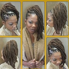Locs braided up-do swept to side.