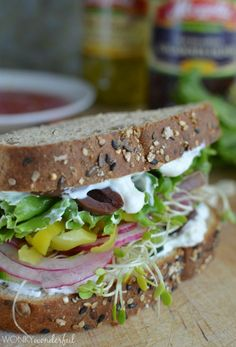 Greek Vegetable Sandwich with Creamy Feta Spread : healthy vegetarian lunch recipe