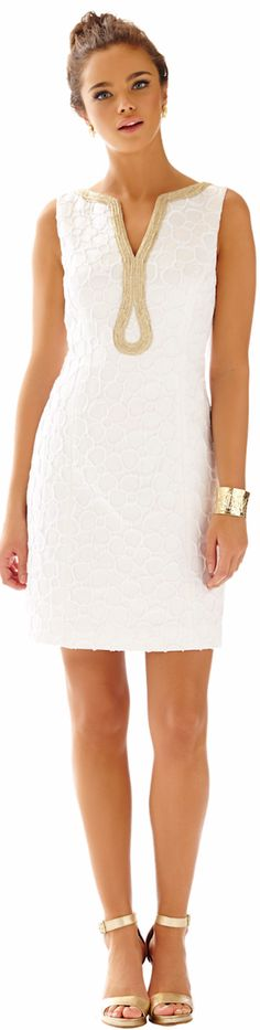 LILLY PULITZER JANICE SHIFT DRESS IN RESORT WHITE FLORAL SOUFFLE