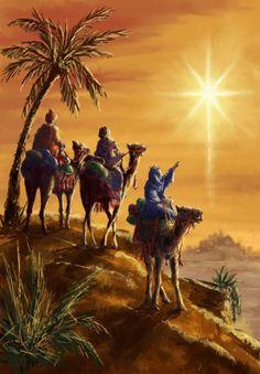 Vintage Christmas Card ~ 3 Magi Following The Star of Bethlehem ~ Orange Accents