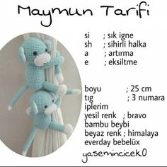 Amigurumi Maymun Tarifi See other ideas and pictures from the category menu…. Crochet Lion, Crochet Monkey, Crochet Bunny Pattern, Crochet Patterns Amigurumi, Cute Crochet, Crochet Baby, Knitted Dolls, Crochet Dolls, Crochet Curtains