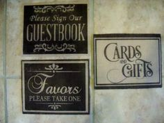 Rustic Burlap Wedding signs Guestbook, Gifts, Favors set of 3