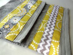 August Ave towels give your bathroom an instant makeover!!! Contact us for Custom Orders. This listing is for a Grey towel decorated with designer fabrics in yellow and grey. This listing is for One towel. Use the drop box to pick your size. Mix and Match for a full set. Washcloth- 13x13 Hand Towels- 16x28 Full Size Bath Towel- 30x54 Bath Sheet- 33x63 **Premium 100% Cotton Towel- Thick and Plush! ** Designer Fabrics **Quality Construction **Washer and Dryer Safe **Instant bathroom Makeover…