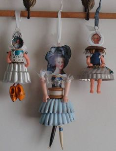 Doll Spoolies with Metal Jello Mold Skirts