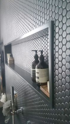 When designing your bathroom consider built in shelving for a more modern look this Corian bathroom shelf is a great alternative to tiling #modernbathroomdesign #interiordesign