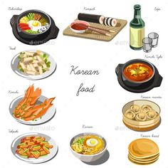 Korean Cuisine Set. Collection of Food Dishes by Sonulkaster Korean cuisine set. Collection of food dishes for the decoration of restaurants, cafes, menus. Vector Illustration. Isolated on wh