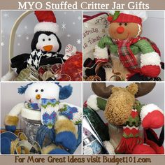These simple stuffed critter jar toppers can turn nearly any stuffed animal into an adorable gift in just a few minutes time! (click on photo for step by step directions)