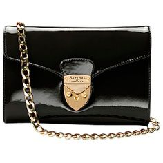 Aspinal of London Manhattan Clutch Handbag , Black Patent ($530) ❤ liked on Polyvore
