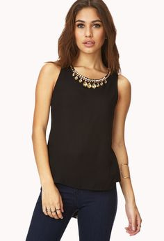 Fancy Georgette Top | FOREVER21 - 2000126475