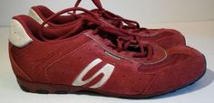 Skechers Athletic Shoes Sneakers Mens Sz 8 Red Leather Fitness Running Walking #Skechers #AthleticSneakers