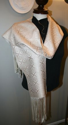Soft Gold Snowflake Handwoven Scarf Hand Made by ThrumsTextiles, $130.00