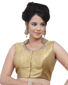 Gold Shimmer Party Wear Readymade Sari Blouse X-80 | Saris and Things