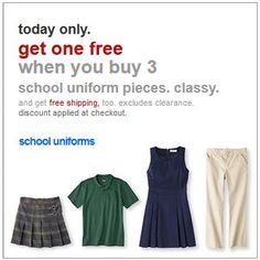 FREE SHIPPING on School Uniforms Sale – Starting at JUST $6.99 *PLUS Buy 3 Get One FREE  http://www.frugallivingandhavingfun.com/2013/08/free-shipping-on-school-uniforms-sale-starting-at-just-6-99-plus-buy-3-get-one-free/