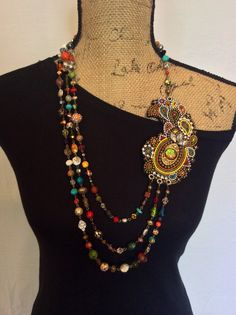 Beaded Necklace with Semi-precious Stones by perlinibella on Etsy