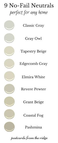These are the best neutral paint colors. Lots of great photos of each one. So glad to have this. - Postcards from the Ridge