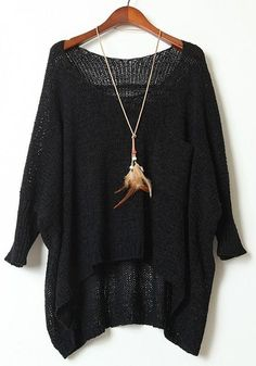 Black Plain Hollow-out Pockets Round Neck 3/4 Sleeve Pullover Sweater