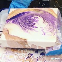 Acrylic Painting Video Fluid acrylic painting using the method; colors are white, metallic gold and violet. Watch the full video! Fluid acrylic painting using the method; colors are white, metallic gold and violet. Watch the full video! Acrylic Pouring Techniques, Acrylic Pouring Art, Acrylic Art, Acrylic Paintings, Acrylic Painting Tutorials, Painting Videos, Easy Paintings, Pour Painting, Painting Art