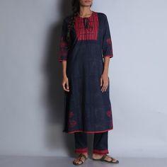 Indigo & Red Hand Block Printed Cotton Kurta With Front Yoke Details And Tie Up Round Neck