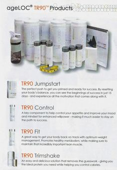 The first weight management system based upon gene expression science. AgeLOC TR90 is a comprehensive program including an easy to follow eating plan, lifestyle tips, convenient protein shakes, and three dietary supplements— ageLOC TR90 Fit Control JumpStart —formulated to: 1) target and promote healthy metabolism, 2) support lean muscle ... interested WA +65 96964599 Nuskin Tr90, Nu Skin Ageloc, Gene Expression, Bing Video, Natural Supplements, How To Get, How To Plan, Weight Management, Anti Aging Skin Care