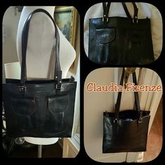 Amazing Claudia Firenze Black leather bagq What a statement bag. Beautiful leather and the only scratches on the bottom where you will not see it shown in last photo. 10 inch drop, 10 inches up and down, 11 inches across. Zipper across the top closes the entire bag. This was a very expensive bag. Reasonable offer will be accepted. No low balls Claudia Bags