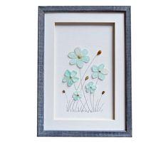 Sea glass art flowers Fine art housewarming gift by PebbleArtDream