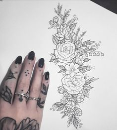 I have no thumb. Would love to tattoo this on a hip/thigh area #tattoo #design #illustration #drawing #linedrawing #lineworktattoo #flowers #floral #botanical #femenine #girlswithtattoos #fineliner #doodle #sketchbook #drawdaily #available