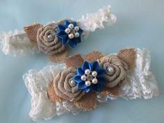 Burlap Royal Blue Wedding Garter Set Something Garters Ivory Lace Bridal