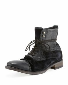 Fleetwood Leather/Velvet Boot, Black by John Varvatos at Bergdorf Goodman.