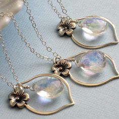 Bridesmaid Gift Set of 3 Radiance Necklaces  Flower Charm and by ShopSomethingBlue, $112.50