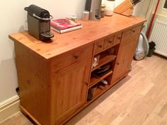Ikea STORNAS sideboard/buffet. Solid wood, really great piece, big. Has tripled our kitchen storage. Paid £250, yours for £125. Click through for dimensions and more info.