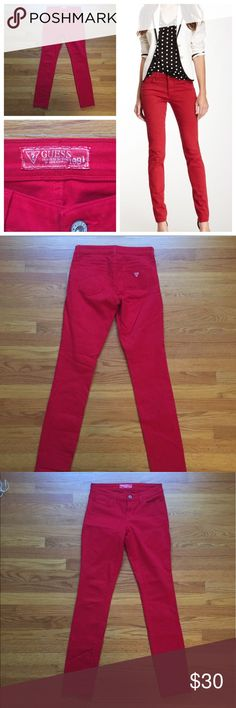 GUESS Red Jeans 4/27 Who doesn't need red denim pants?! Like new, only worn once! These no longer fit me - the inner size tag has been removed (was itchy) but they are a 4/27 (i'm closer to a 6 or at least a curvy/generous 4). They are skinny style but not skin tight at the ankles. Will provide measurements upon request! Guess Jeans Skinny