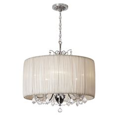 Chic 5-Light Crystal Chandelier with Oyster Pleated Drum Shade | Overstock.com Shopping - Great Deals on Joshua Marshal Home Collection Chandeliers